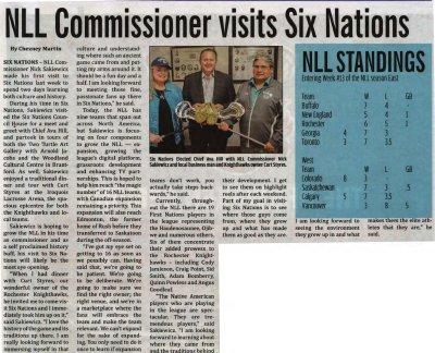 """""""NLL Commissioner visits Six Nations"""""""