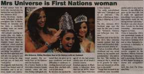 """Mrs. Universe is First Nations woman"""