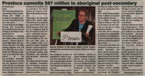 """Province commits $97 million to aboriginal post-secondary"""