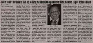 """""""Court forces Ontario to live up to First Nations/OLG agreement: First Nations to get seat on board"""""""