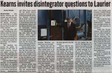 """Kearns invites disintegrator question to Laurier"""