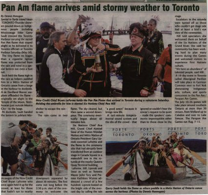 Stormy Weather For Public Libraries And >> Pan Am Flame Arrives Amid Stormy Weather To Toronto Six Nations