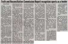 """Truth and Reconciliation Commission Report recognizes sports as a healer"""