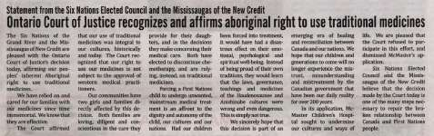 """Ontario Court of Justice recognizes and affirms aboriginal right to use traditional medicines"""