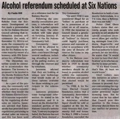 """""""Alcohol referendum scheduled at Six Nations"""""""