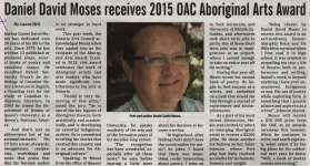 """Daniel David Moses receives 2015 OAC Aboriginal Arts Award"""