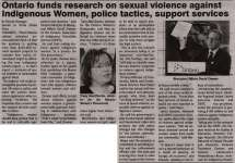 """""""Ontario funds research on sexual violence against Indigenous Women, police tactics, support services"""""""
