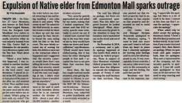 """Expulsion of Native elder from Edmonton Mall sparks outrage"""