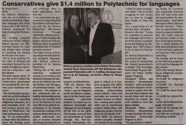 """Conservatives give $1.4 Million to Polytechnic for languages"""