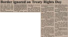 """Border ignored on Treaty Rights Day"""