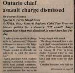 """Ontario chief assault charge dismissed"""