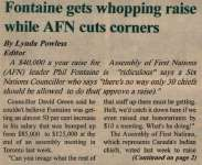 """Fontaine gets whopping raise while AFN cuts corners"""