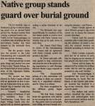 """Native group stands guard over burial ground"""