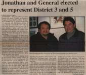 """Jonathan and General elected to represent District 3 and 5"""