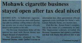 """Mohawk cigarette business stayed open after tax deal nixed"""