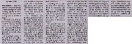 """Oil spill in the Grand River"""