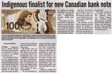 """Indigenous finalist for new Canadian bank note"""
