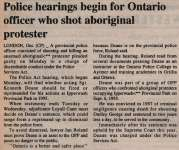 """Police hearings begin for Ontario officer who shot aboriginal protester"""