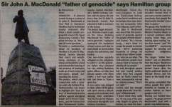 """Sir John A. MacDonald 'father of genocide' says Hamilton group"""