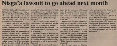 """Nisga'a lawsuit to go ahead next month"""