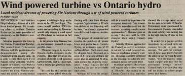 """Wind powered turbine vs Ontario hydro"""