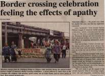 """Border crossing celebration feeling the effects of apathy"""