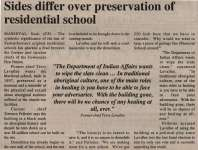 """Sides differ over preservation of residential school"""