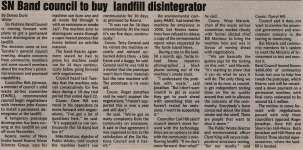 """SN Band council to buy landfill disintegrator"""
