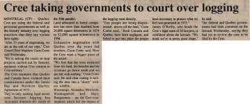 """""""Cree taking governments to court over logging"""""""