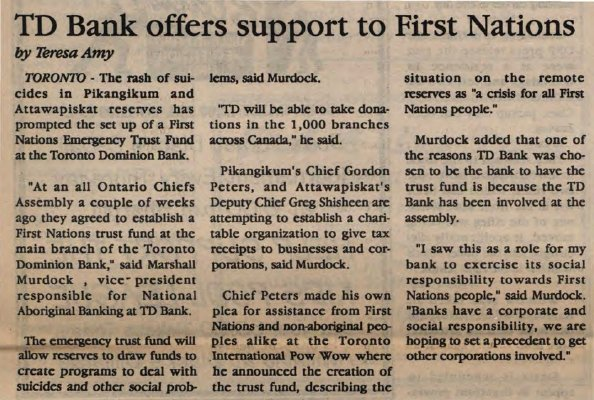 """TD Bank offers support to First Nations"""