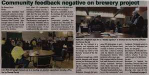 """""""Community feedback negative on brewery project"""""""