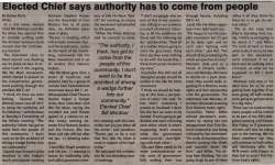 """""""Elected Chief says authority has to come from people"""""""