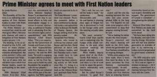 """""""Prime Minister agrees to meet with First Nation leaders"""""""