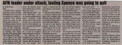 """""""AFN leader under attack, fasting Spence was going to quit"""""""