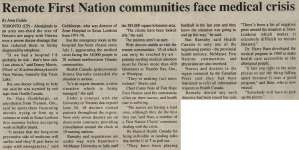 """Remote First Nation communities face medical crisis"""