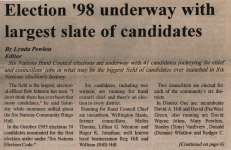 """""""Election '98 underway with largest slate of candidates"""""""