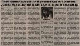 """""""Turtle Island News publisher awarded Queen's Diamond Jubilee Medal...but the medal goes missing at band office"""""""