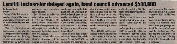 """""""Landfill incinerator delayed again, band council advanced $400,000"""""""