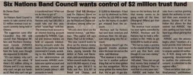 """""""Six Nations Band Council wants control of $2 Million trust fund"""""""