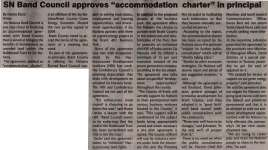 """SN Band Council approves 'accommodation charter' in principal"""