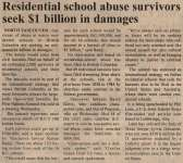 """Residential school abuse survivors seek $1 billion in damages"""