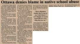 """""""Ottawa denies blame in native school abuse"""""""