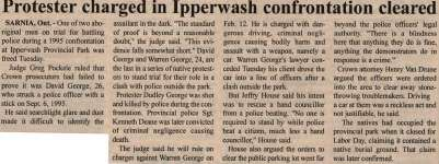 """""""Protester charged in Ipperwash confrontation cleared"""""""