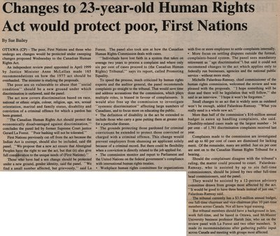 """Changes To 23-Year-Old Human Rights act Would Protect Poor, First Nations"""