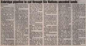 """Enbridge pipeline to cut through Six Nations unceded lands"""