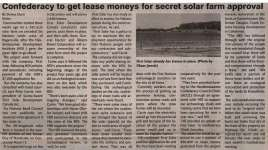"""Confederacy to get lease moneys for secret solar farm approval"""