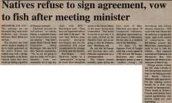 """Natives refuse to sign agreement, vow to fish after meeting minister"""