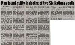 """Man found guilty in deaths of two Six Nations youth"""