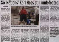 """Six Nations' Karl Hess Still Undefeated"""