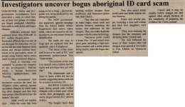 """""""Investigators Uncover Bogus Aboriginal ID Card Scam"""""""